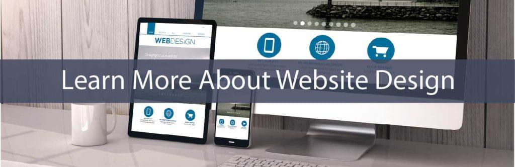 learn about web design - desktop, tablet & smart phone on desk - in blue - larger