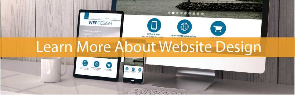 learn about web design - desktop, tablet & smart phone on desk - in yellow