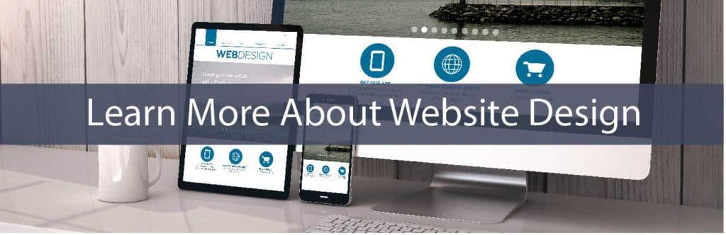 learn about web design - desktop, tablet & smart phone on desk - in blue